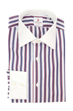 Cordone1956  - Classic Shirt Mod. Multi Stripes Red - Made by: Machine - Type: casual  - Made In Italy