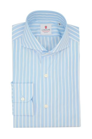 Cordone1956  - Classic Shirt Mod. Sky Big Stripes Azure - Made by: Machine - Type: casual  - Made In Italy
