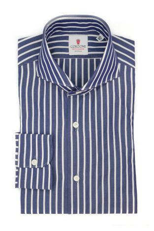 Cordone1956  - Classic Shirt Mod. Sky Big Stripes Blue - Made by: Machine - Type: casual  - Made In Italy