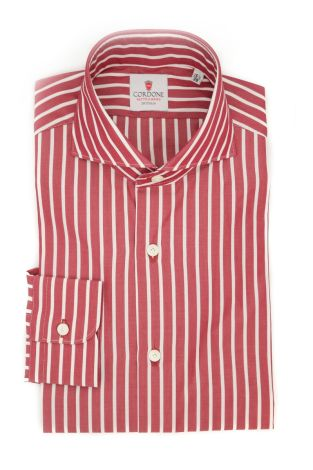 Cordone1956  - Classic Shirt Mod. Sky Big Stripes Red - Made by: Machine - Type: casual  - Made In Italy