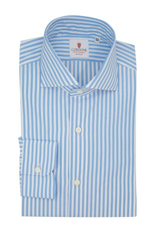 Cordone1956  - Classic Shirt Mod. Sky Stripes Azure - Made by: Machine - Type: casual  - Made In Italy