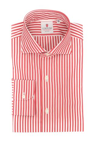 Cordone1956  - Classic Shirt Mod. Sky Stripes Red - Made by: Machine - Type: casual  - Made In Italy
