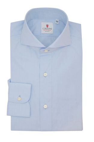 Cordone1956  - Classic Shirt Mod.  Popeline DJA 200 Azure - Made by:  Hand - Type: Business - Made In Italy