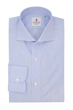 Cordone1956  - Classic Shirt Mod.  Pop Little Stripes Azure and White DJA 200 - Made by:  Hand - Type: Business - Made In Italy