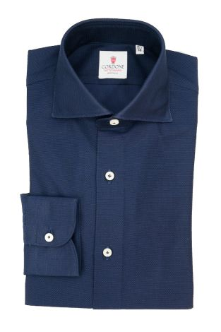 Cordone1956  - Classic Shirt Mod. Cellulare Blu Navy Shirt By-Hand - Made by: Hand - Type: Casual - Made In Italy