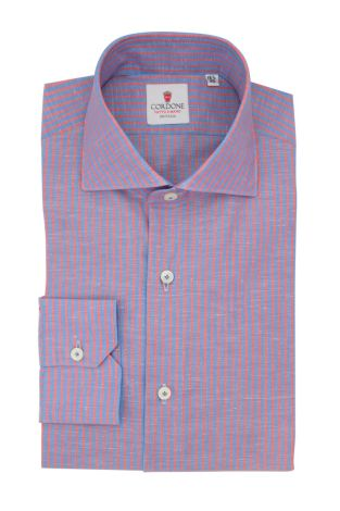 Cordone1956  - Classic Shirt Mod. Royale Voile Blue and Red  - Made by: Hand - Type: Casual - Made In Italy