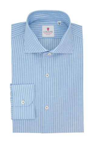 Cordone1956  - Classic Shirt Mod. Royale Voile Light Azure and Azure - Made by: Hand - Type: Casual - Made In Italy