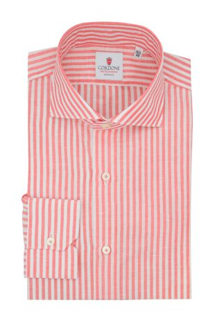 Cordone1956  - Classic Shirt Mod. Zevi Big Stripes White and Red  - Made by: Hand - Type: casual  - Made In Italy