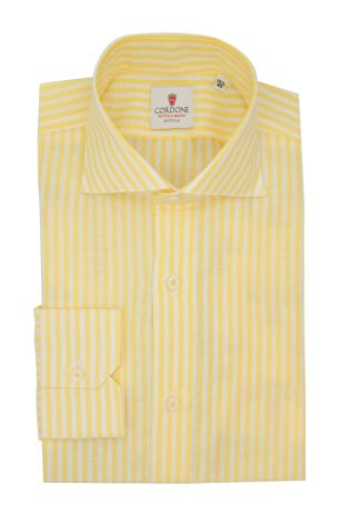 Cordone1956  - Classic Shirt Mod. Zevi Big Stripes White and Yellow - Made by: Hand - Type: casual  - Made In Italy