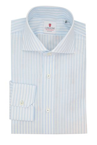 Cordone1956  - Classic Shirt Mod. Zevi Big Stripes White and Azure - Made by: Hand - Type: casual  - Made In Italy