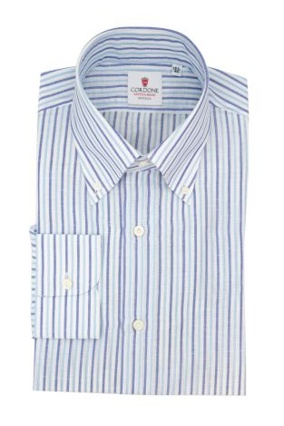 Cordone1956  - Classic Shirt Mod. Zevi Stripes White, Azure and Blue  - Made by: Hand - Type: casual  - Made In Italy
