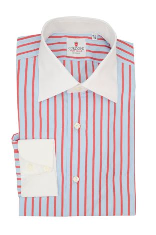 Cordone1956  - Classic Shirt Mod. Cam Stripes Azure and Red - Made by: Hand - Type: casual  - Made In Italy