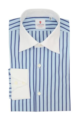Cordone1956  - Classic Shirt Mod. Cam Stripes Azure and Blue  - Made by: Hand - Type: casual  - Made In Italy