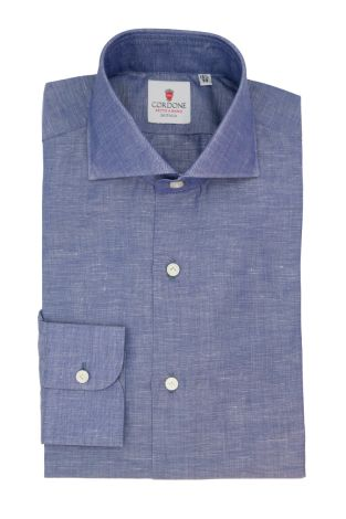 Cordone1956  - Classic Shirt Mod. Zevi Blue  - Made by: Hand - Type: casual  - Made In Italy