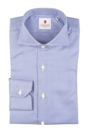 Cordone1956  - Classic Shirt Mod. Galles Blue  - Made by: Machine   - Type: casual   - Made In Italy