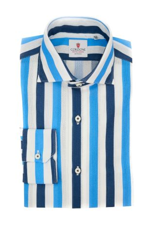 Cordone1956  - Classic Shirt Mod. Giro Inglese Big Stripes White, Azure and Blue - Made by: Machine - Type: Casual - Made In Italy