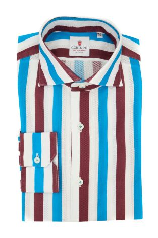 Cordone1956  - Classic Shirt Mod. Giro Inglese Big Stripes White, Bordeaux and Azure  - Made by: Machine - Type: Casual - Made In Italy