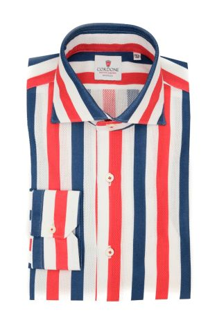 Cordone1956  - Classic Shirt Mod. Giro Inglese Big Stripes White, Blu and Red  - Made by: Machine - Type: Casual - Made In Italy