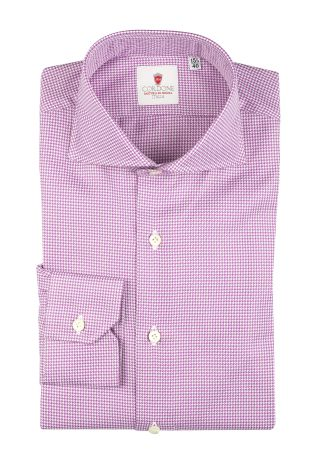 Cordone1956  - Classic Shirt Mod. Galles Lilac  - Made by: Machine   - Type: casual   - Made In Italy
