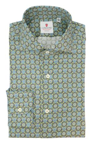 Cordone1956  - Tailored Shirt Mod. Kaleidoscope Green - Made by: Machine - Type: Casual - Made In Italy