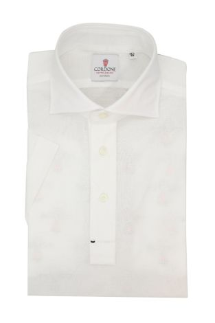 Cordone1956 - Mod. Shirt Polo White Short Sleeve - Shirt By-Hand - Made In Italy