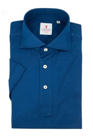 Cordone1956 - Mod. Shirt Polo Navy Short Sleeve - Shirt By-Hand - Made In Italy