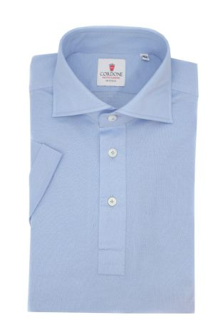 Cordone1956 - Mod. Shirt Polo Light Azure Short Sleeve - Shirt By-Hand - Made In Italy