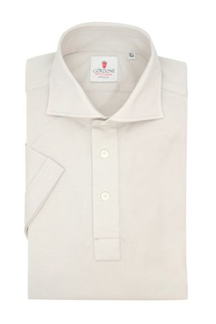 Cordone1956 - Mod. Shirt Polo Pearl Grey Short Sleeve - Shirt By-Hand - Made In Italy