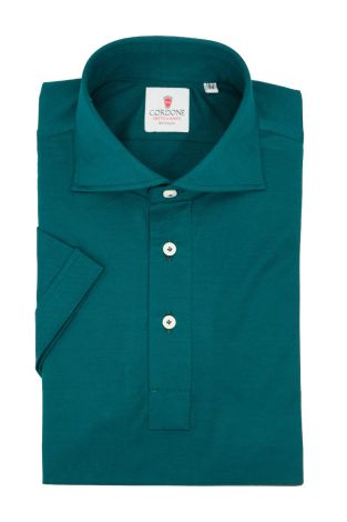 Cordone1956 - Mod. Shirt Polo Green Short Sleeve - Shirt By-Hand - Made In Italy