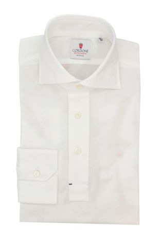 Cordone1956 - Mod. Shirt Polo White Long Sleeve - Shirt By-Hand - Made In Italy
