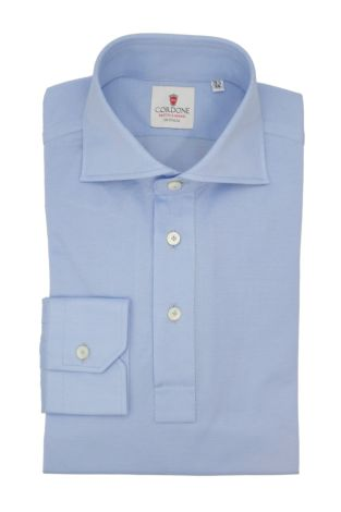 Cordone1956 - Mod. Shirt Polo Light Azure Long Sleeve - Shirt By-Hand - Made In Italy