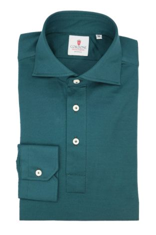Cordone1956 - Mod. Shirt Polo Green Long Sleeve - Shirt By-Hand - Made In Italy