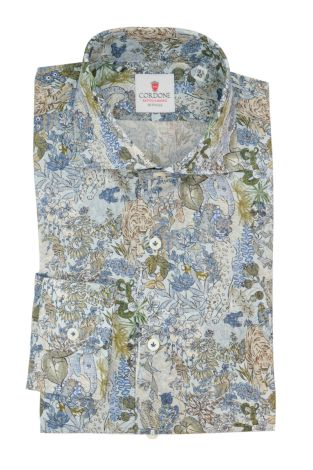 Cordone1956  - Classic Shirt Mod. Jungle Azure - Made by:  Machine - Type: Casual - Made In Italy