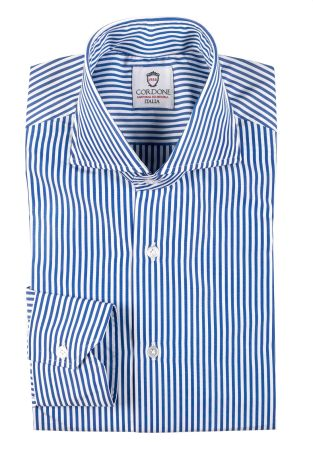 Cordone1956  - Classic Shirt Mod. Dandy Stripes Bluee Cotton Shirt  - Made by: Machine   - Type: business  - Made In Italy