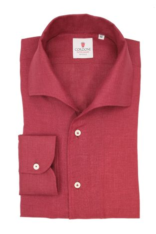Cordone1956  - Classic Shirt Mod. Linen Bordeaux Capri Collar - Made by:  Machine - Type: Casual - Made In Italy