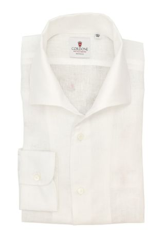 Cordone1956  - Classic Shirt Mod. Linen White Capri Collar - Made by:  Machine - Type: Casual - Made In Italy