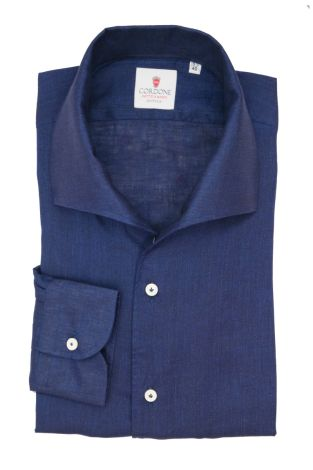 Cordone1956  - Classic Shirt Mod. Linen Blue Capri Collar - Made by:  Machine - Type: Casual - Made In Italy