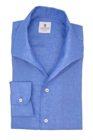 Cordone1956  - Classic Shirt Mod. Linen Azure Capri Collar - Made by:  Machine - Type: Casual - Made In Italy