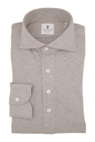 Cordone1956 - Classic Shirt Mod. Beige Cashmere Blend Polo Shirt  - Made by: By-Hand - Type: Casual - Made In Italy