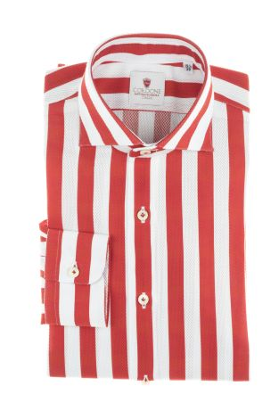 Cordone1956  - Shirt Limited Edition  Mod. Giro Inglese Big Stripes Red   - Made by: Machine    - Type: casual   - Made In Italy
