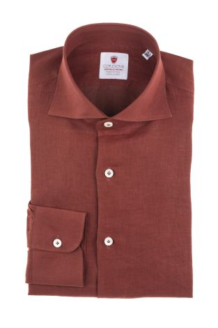 Cordone1956  - Shirt Linen  Mod. Linen Burgundy  - Made by: Machine    - Type: casual   - Made In Italy