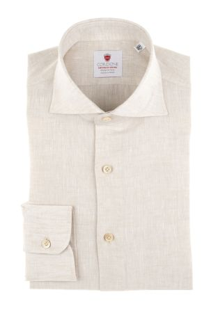 Cordone1956  - Shirt Linen  Mod. Linen Beige   - Made by: Machine    - Type: casual   - Made In Italy