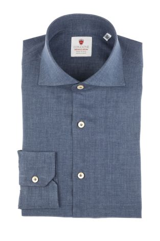 Cordone1956  - Shirt Linen  Mod. Linen bluee Denim   - Made by: Machine    - Type: casual   - Made In Italy