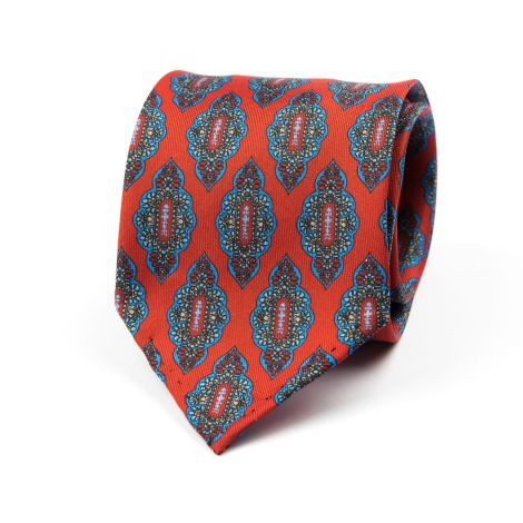 Cordone1956 - Necktie Mod. Ties 7 Fold - Fabric silk - Color Red/Azure