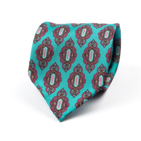 Cordone1956 - Necktie Mod. Ties 7 Fold - Fabric silk - Color Turquoise/Pink