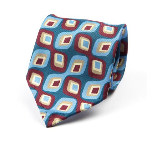 Cordone1956 - Necktie Mod. Ties 3 Fold - Fabric silk - Color Blu/Azure/Bordeaux