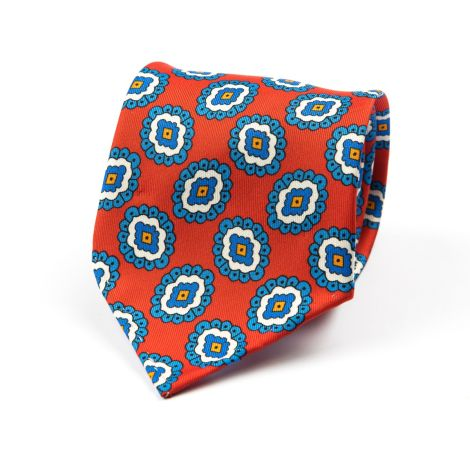 Cordone1956 - Necktie Mod. Ties 3 Fold - Fabric silk - Color Red/Azure
