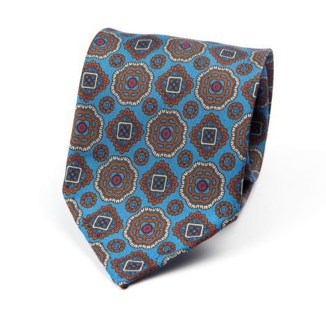 Cordone1956 - Necktie Mod. Ties 7 Fold - Fabric silk - Color Azure/Brown
