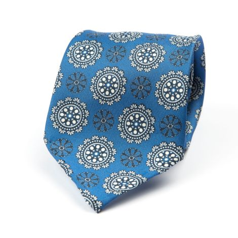 Cordone1956 - Necktie Mod. Ties 7 Fold - Fabric silk - Color Azure/White