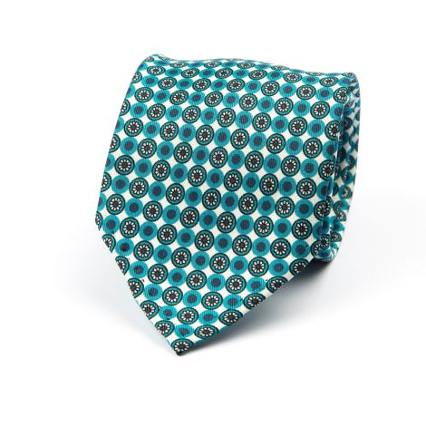 Cordone1956 - Necktie Mod. Ties 7 Fold - Fabric silk - Color Green/White